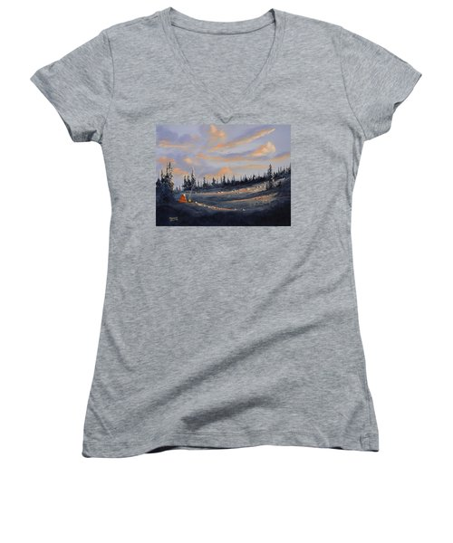 Women's V-Neck T-Shirt (Junior Cut) featuring the painting The Days End by Richard Faulkner