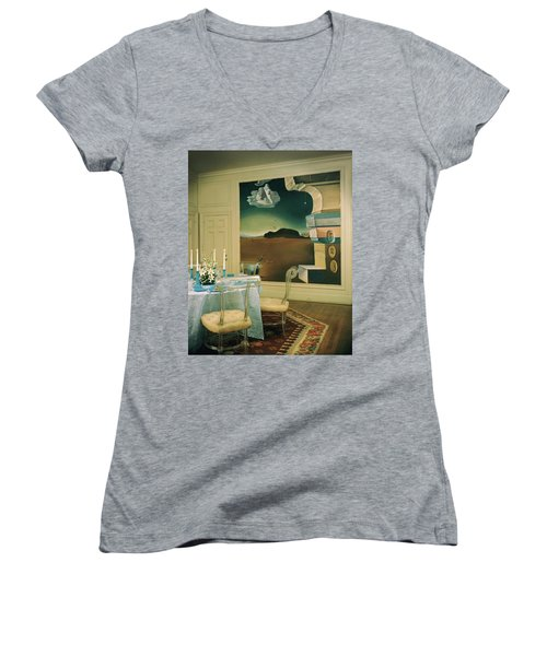 The Dining Room Of Princess Gourielli Women's V-Neck