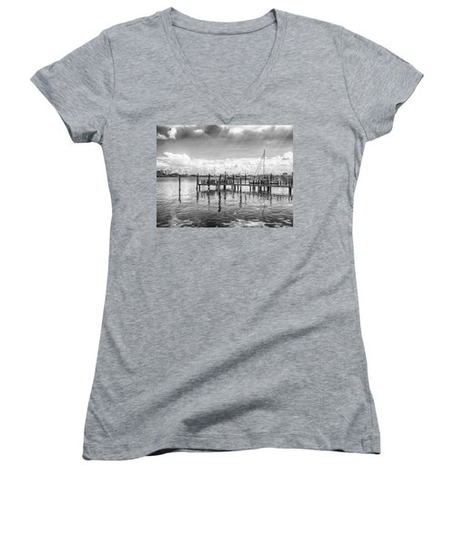 Women's V-Neck featuring the photograph The Dock by Howard Salmon
