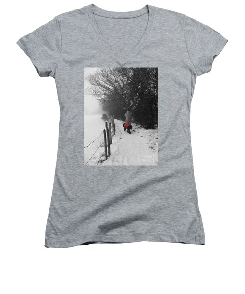 Women's V-Neck T-Shirt (Junior Cut) featuring the photograph The Dog In The Red Coat by Vicki Spindler