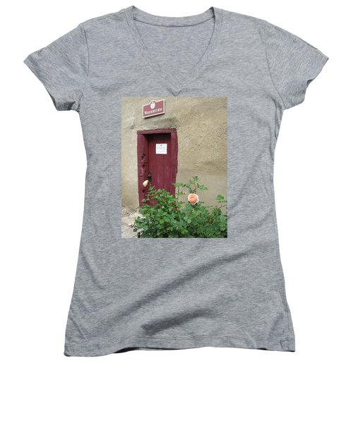 Women's V-Neck T-Shirt (Junior Cut) featuring the photograph The Doorway by Pema Hou