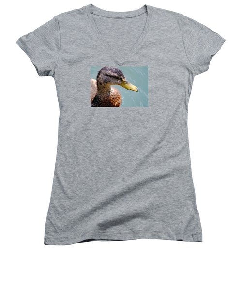 Women's V-Neck T-Shirt (Junior Cut) featuring the photograph The Duck by Milena Ilieva