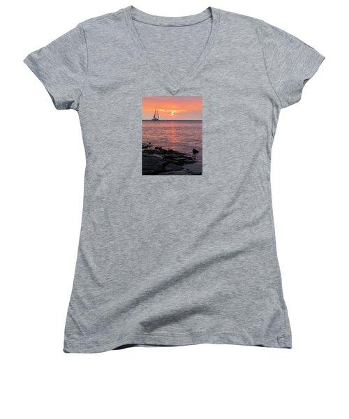 The Edith Becker Sunset Cruise Women's V-Neck T-Shirt (Junior Cut) by David T Wilkinson