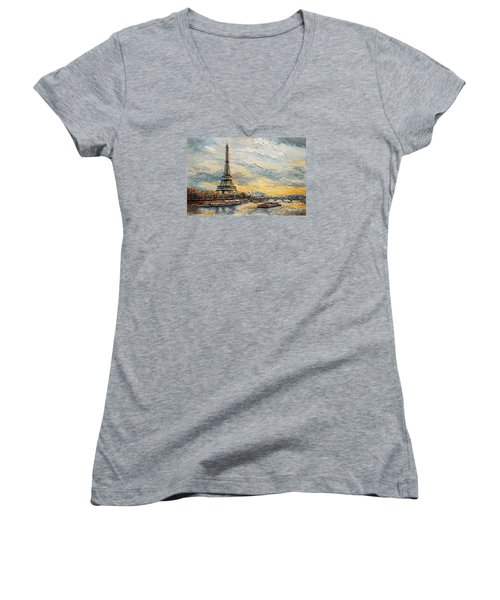 The Eiffel Tower- From The River Seine Women's V-Neck T-Shirt (Junior Cut) by Joey Agbayani
