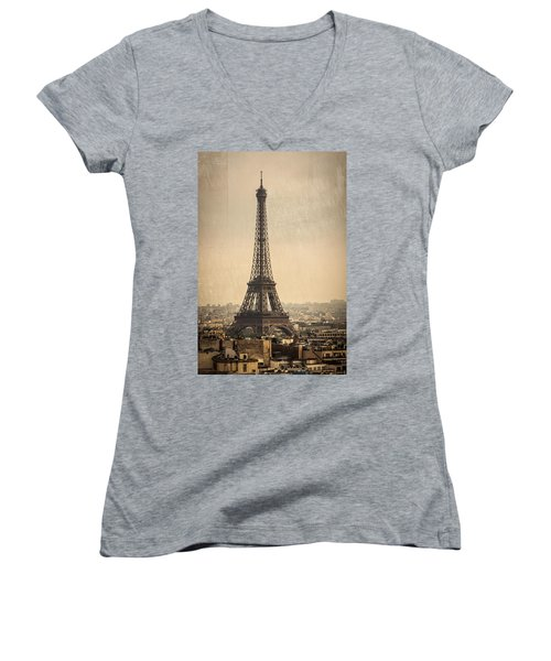 The Eiffel Tower In Paris France Women's V-Neck
