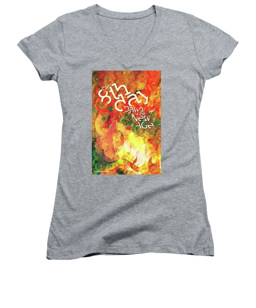 The Eighth Day Women's V-Neck T-Shirt (Junior Cut) by Chuck Mountain