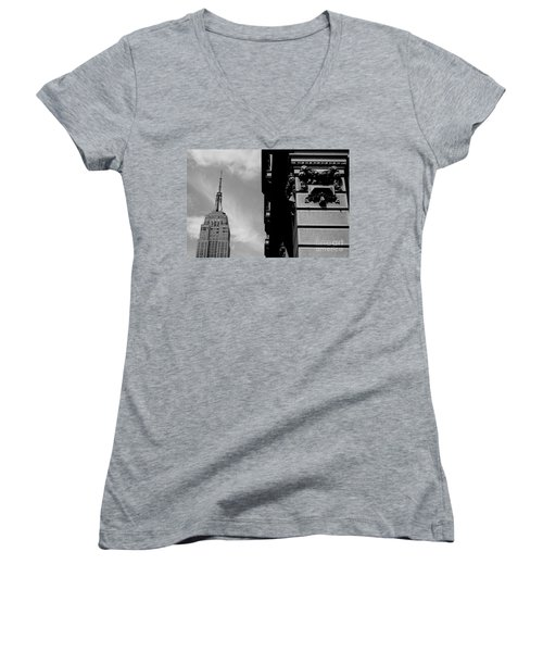 Women's V-Neck T-Shirt (Junior Cut) featuring the photograph The Empire State Building by Steven Macanka