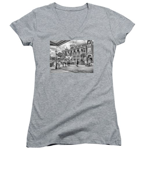 Women's V-Neck featuring the photograph The Emporium by Howard Salmon