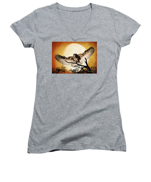 Women's V-Neck T-Shirt (Junior Cut) featuring the photograph The Eurasian Eagle Owl And The Moon by Kathy Baccari