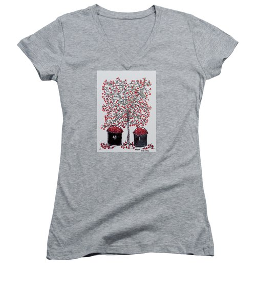 The Famous Door County Cherry Tree Women's V-Neck T-Shirt (Junior Cut) by AndyJack Andropolis
