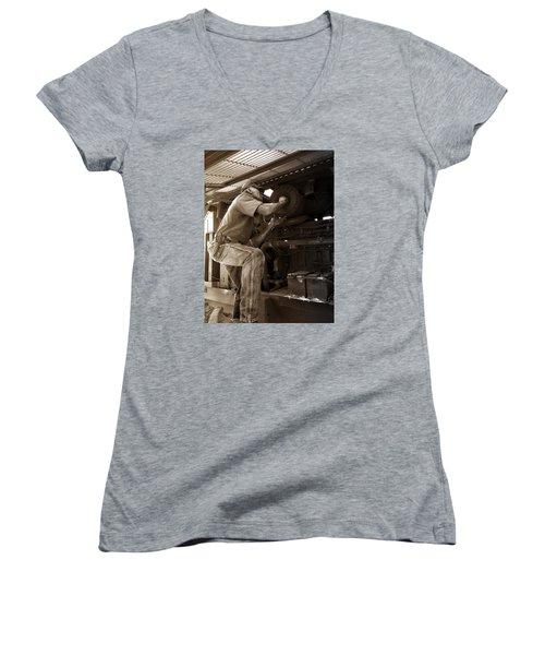 The Farmer Women's V-Neck T-Shirt (Junior Cut) by Rebecca Davis