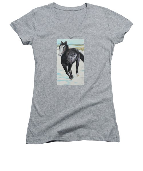 Women's V-Neck T-Shirt (Junior Cut) featuring the painting The Feel Of The Cool Air by Jeanne Fischer