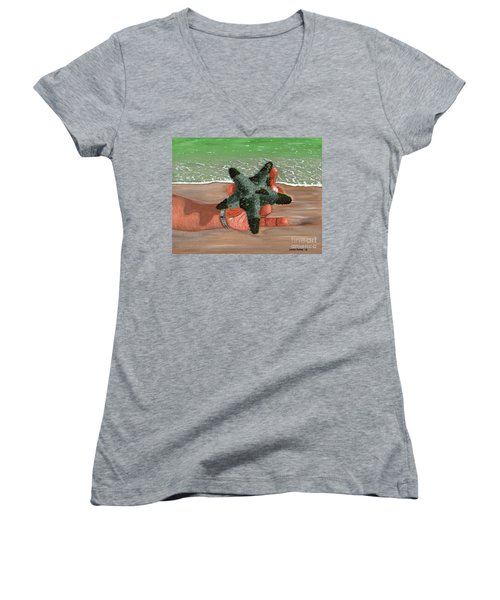 Women's V-Neck T-Shirt (Junior Cut) featuring the painting The Find by Laura Forde