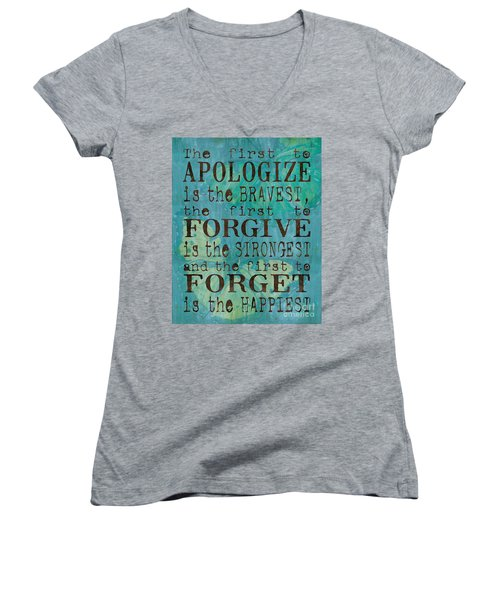 The First To Apologize Women's V-Neck (Athletic Fit)