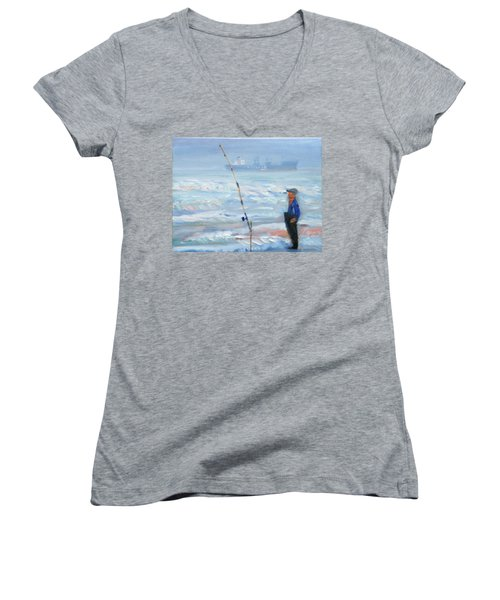 The Fishing Man Women's V-Neck (Athletic Fit)