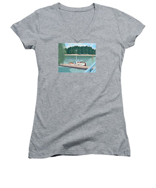 Women's V-Neck T-Shirt (Junior Cut) featuring the painting The Converted Fishing Trawler Gulvik by Gary Giacomelli