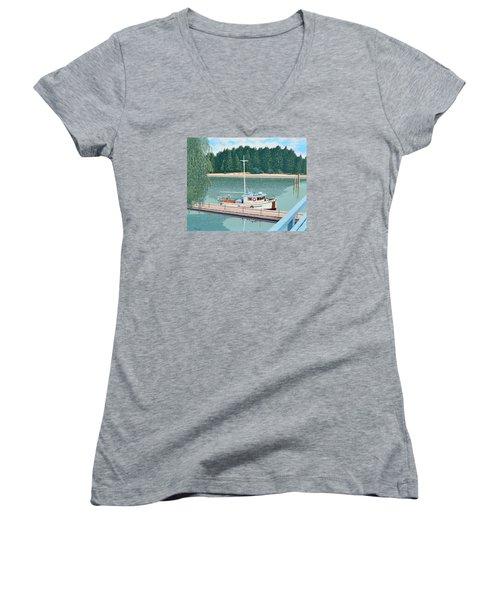 The Converted Fishing Trawler Gulvik Women's V-Neck T-Shirt (Junior Cut) by Gary Giacomelli