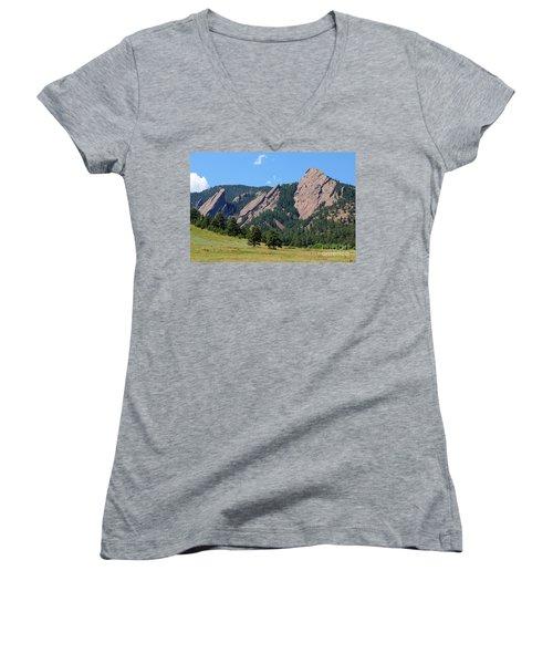The Flatirons Women's V-Neck T-Shirt (Junior Cut) by Bob Hislop