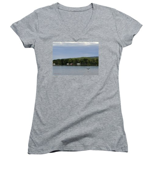 The Flight Of The Great Blue Heron Women's V-Neck (Athletic Fit)