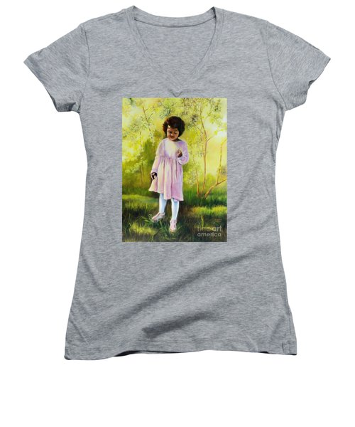 Women's V-Neck T-Shirt (Junior Cut) featuring the painting The Forsythia by Marlene Book
