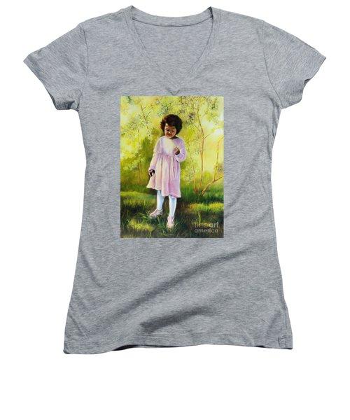 The Forsythia Women's V-Neck T-Shirt (Junior Cut) by Marlene Book