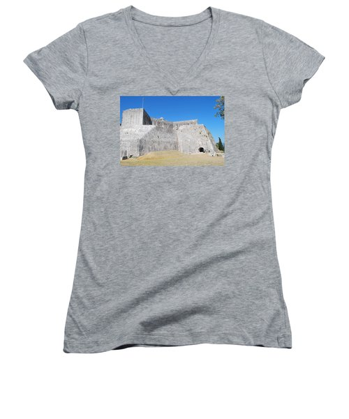 Women's V-Neck T-Shirt (Junior Cut) featuring the photograph The Fort Never Fell by George Katechis