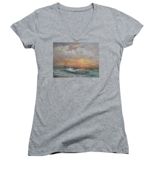 Women's V-Neck T-Shirt (Junior Cut) featuring the painting Sunlit  Frigate by Luczay