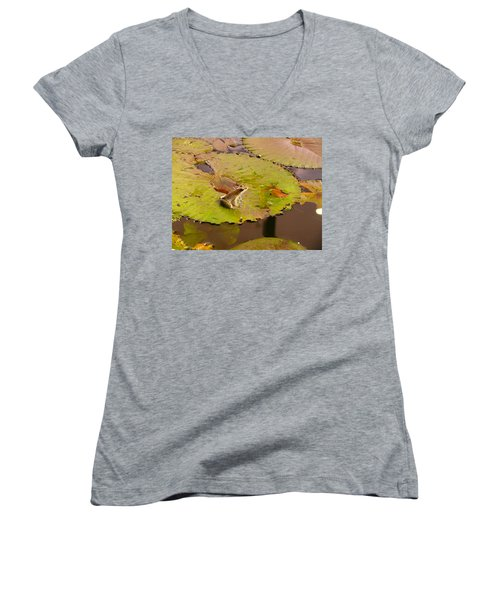 Women's V-Neck T-Shirt (Junior Cut) featuring the photograph The Frog by Evelyn Tambour