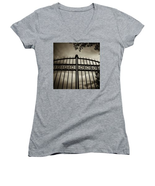Women's V-Neck T-Shirt (Junior Cut) featuring the photograph The Gate In Sepia by Steven Milner