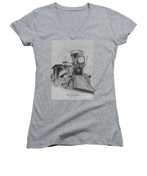 The General - Train - Big Shanty Kennesaw Ga Women's V-Neck