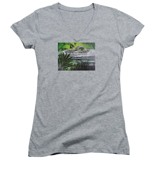 Women's V-Neck T-Shirt (Junior Cut) featuring the painting The Glades by Dianna Lewis