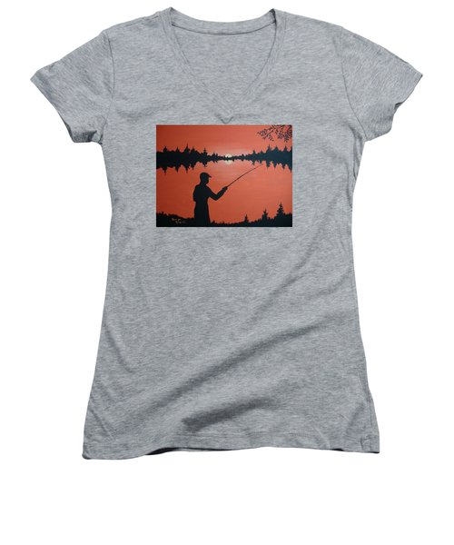 Women's V-Neck T-Shirt (Junior Cut) featuring the painting The Golden Hour by Norm Starks