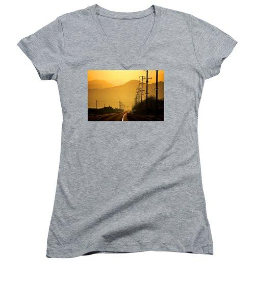 Women's V-Neck T-Shirt (Junior Cut) featuring the photograph The Golden Road by Matt Harang