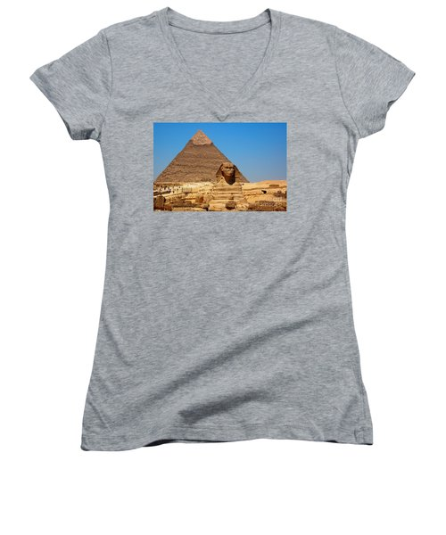 Women's V-Neck T-Shirt (Junior Cut) featuring the photograph The Great Sphinx Of Giza And Pyramid Of Khafre by Joe  Ng