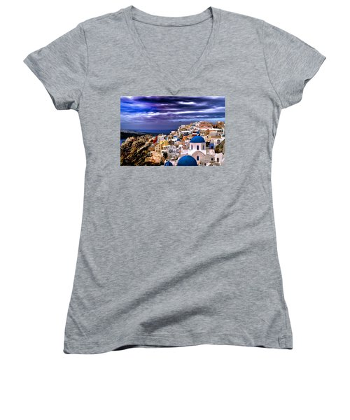 The Greek Isles Santorini Women's V-Neck T-Shirt (Junior Cut) by Tom Prendergast