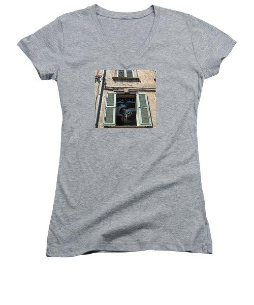 The Gucci Window Women's V-Neck T-Shirt (Junior Cut) by John Stuart Webbstock