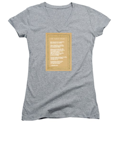 The Guest House Poem By Rumi Women's V-Neck T-Shirt (Junior Cut) by Celestial Images
