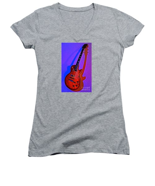 The Guitar After Party Women's V-Neck T-Shirt (Junior Cut) by Gem S Visionary