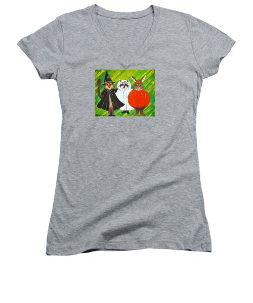 Women's V-Neck T-Shirt (Junior Cut) featuring the painting The Halloween Gang by Jennifer Lake