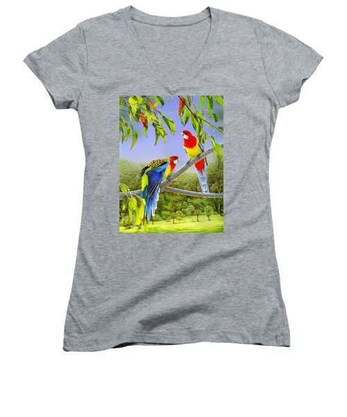 The Happy Couple - Eastern Rosellas  Women's V-Neck (Athletic Fit)