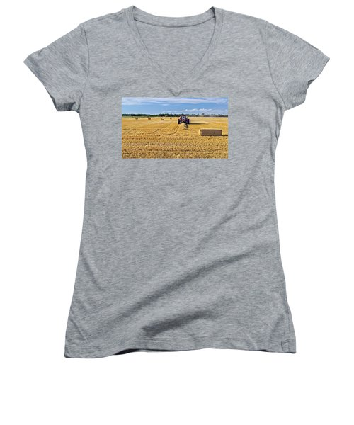 Women's V-Neck T-Shirt (Junior Cut) featuring the photograph The Harvest by Keith Armstrong