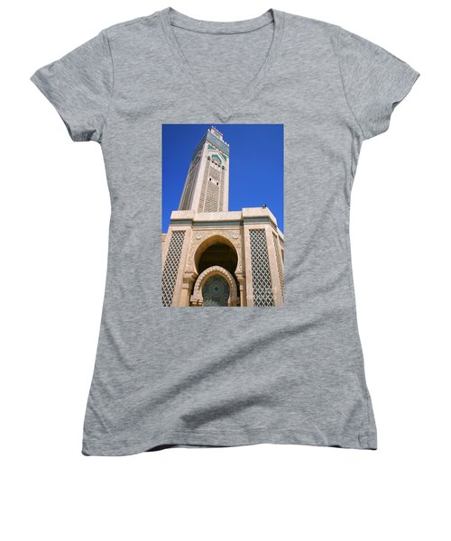 The Hassan II Mosque Grand Mosque With The Worlds Tallest 210m Minaret Sour Jdid Casablanca Morocco Women's V-Neck T-Shirt