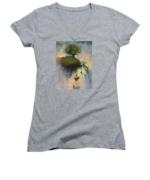 The Hiding Place Women's V-Neck T-Shirt (Junior Cut) by Joshua Smith