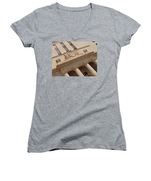 Women's V-Neck T-Shirt (Junior Cut) featuring the photograph The Historical Federal Reserve Bank Of Dallas by Robert ONeil