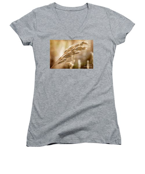 Women's V-Neck T-Shirt (Junior Cut) featuring the photograph The Hot Gold Hush Of Noon by Linda Lees