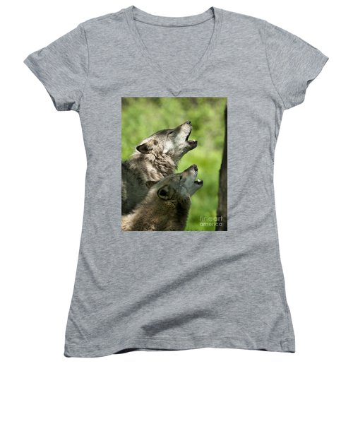 Women's V-Neck T-Shirt (Junior Cut) featuring the photograph The Howling by Wolves Only