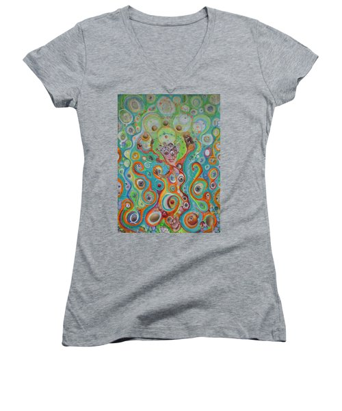 Women's V-Neck T-Shirt (Junior Cut) featuring the mixed media The Juggler Of Junkadelphia by Douglas Fromm