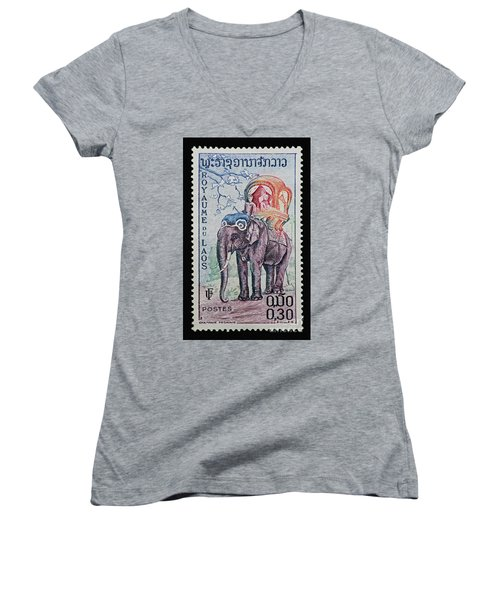 Women's V-Neck T-Shirt (Junior Cut) featuring the photograph The King's Elephant Vintage Postage Stamp Print by Andy Prendy