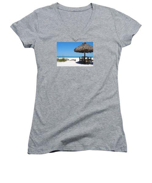 Women's V-Neck T-Shirt (Junior Cut) featuring the photograph The Kokonut Hut  by Margie Amberge