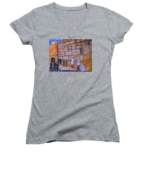 Women's V-Neck T-Shirt (Junior Cut) featuring the painting The Kotel by Donna Dixon